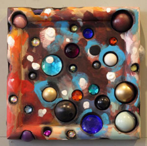Doradus Close View, 2010, acrylic and gems on wood, 12.5 x 12.5 in.