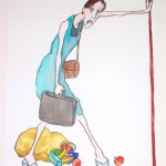 Woman with Groceries, 16x13in. (New Yorker)