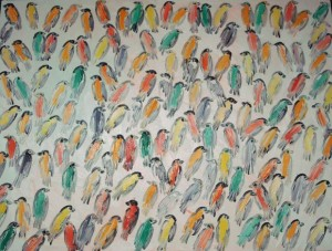 Finches, 2008, oil on canvas, 48 x 36 in.