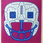 Football Helmet, 1987, paint on paper, 14 x 14 in.