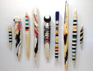 Gathering of Spirits, 2014, burnished and painted wood, installation view