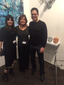 Art Palm Springs 2016  Left to right: featured artist Bonnie Star, gallery owner & director Jean Albano Broday, Bonnie's brother, producer, director & writer, Darren Star