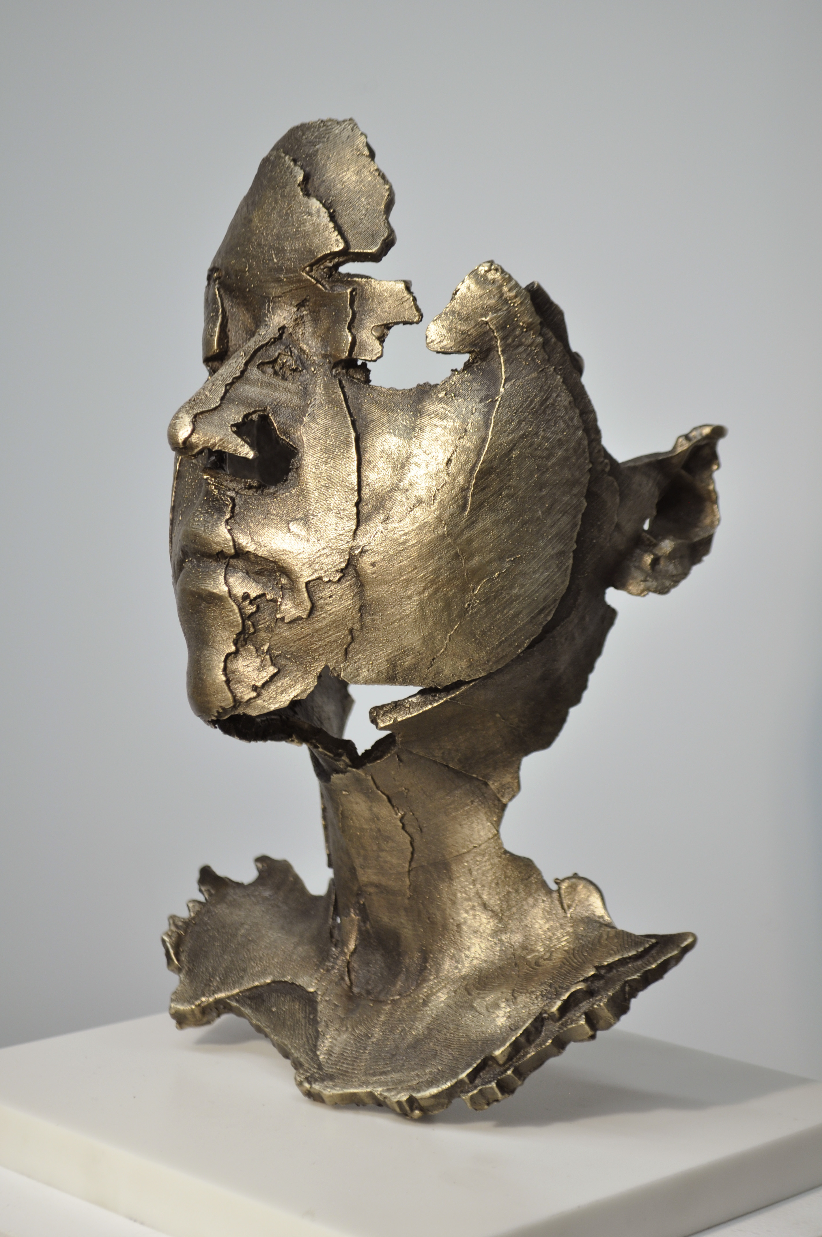 Kahn, LGold (Hi Res), 2014, bronze, gold patina, cast from a 3D printer, 13×9.25×8.25in