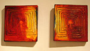 Labyrinth, 2004, burnished and painted wood, 15 x 14 x 2 in.