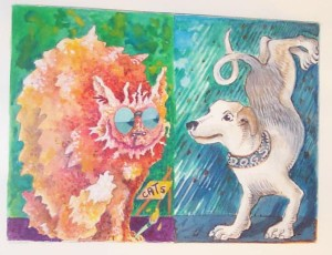 Cats and Dogs, 1999, watercolor and gouache on paper, 5.5 x 7.5 in