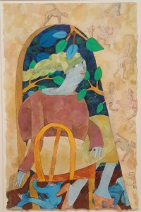 Seated, 2012, watercolor and goache on paper, 11 x 7 in.