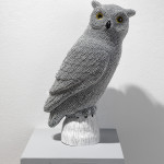 Owl, 2012, cast resin, air rifle BBs, mixed media, 18.5 x 11 x 8 in.