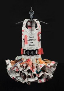 Goes Against The Grain, 2015, vintage sewing books, mixed media, 17 x 12 x 12 in.