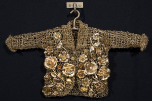Mother Love, 2015, crocheted metal coat, vintage pins, 11.5 x 16 x 4 in.