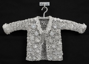 Sparkle Love, 2015, crocheted metal coat, vintage pins, 11.5 x 16 x 2 in.