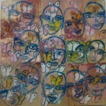 Multiple Saints Veils, 2006, oil on canvas, 48 x 48 in.