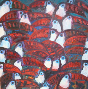 Channel Bill (Toucans), 2008, oil on canvas, 37 x 37 in.