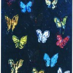 Untitled (multicolor butterflies on blue background), 2013, oil on canvas, 40 x 30 in.