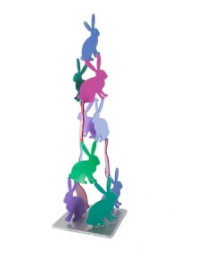 Untitled, 2016, acrylic on aluminum sculpture, 20 x 6 x 6 in.