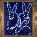 Untitled (White outline bunnies on blue),2014, oil on wood, 30 x 25 in.