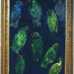 Untitled (green birds on blue background), 2014, oil on wood, 34 x 28 in.