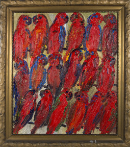Untitled (red lories on gold), 2015, oil on wood, 34 x 29 in.