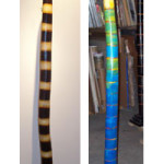 Spirit Poles, 2006-2008, burnished and painted wood, 108 in. high