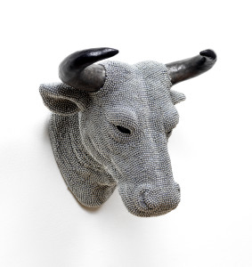 Bull, 2014, cast resin, air rifle BBs, mixed media,14 x 16 x 11 in.