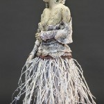 Veiled #1, 2013, twigs, stoneware, applied pigment, 26 x 18 x 8 in.