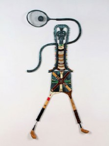 Different Strokes, chair parts, golf clubs, golf tees, tennis rackets, badminton racket, tennis ball 61x32 inches, 2011