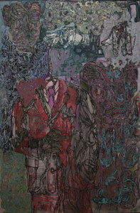 If Clothes Make the Man, I'd be Well Suited to Sheepishly Wear Wolves Clothing, 2007, acrylic on canvas, 60 x 40 in.