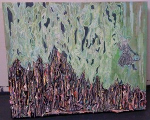 Clear Cut Bobby Ross Timber, In the Hobo Jungle the Leaves Look Like Money, 2011, acrylic and linen on panel, 18 x 24 in.