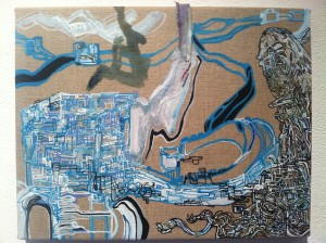 Scene from the stars, move on mongols, 2013, acrylic on canvas, 11 x 4 in.