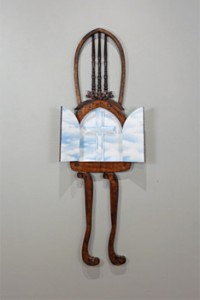 Chapel/Temple, 2012, 52 x 13 x 6 in., chair, mixed media