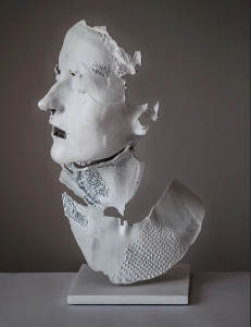 Bust of A Woman II, 2016,  powder coated aluminum, cast from a 3D print
