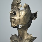 L:Gold, 2014, bronze, gold patina cast from a 3D printer, 13 x 9.25 x 8.25 in