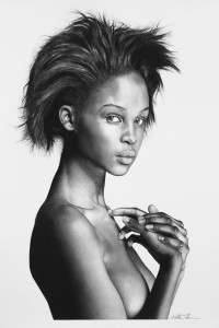 Kia, 2015, carbon pencil on paper, 22 x 30 in.