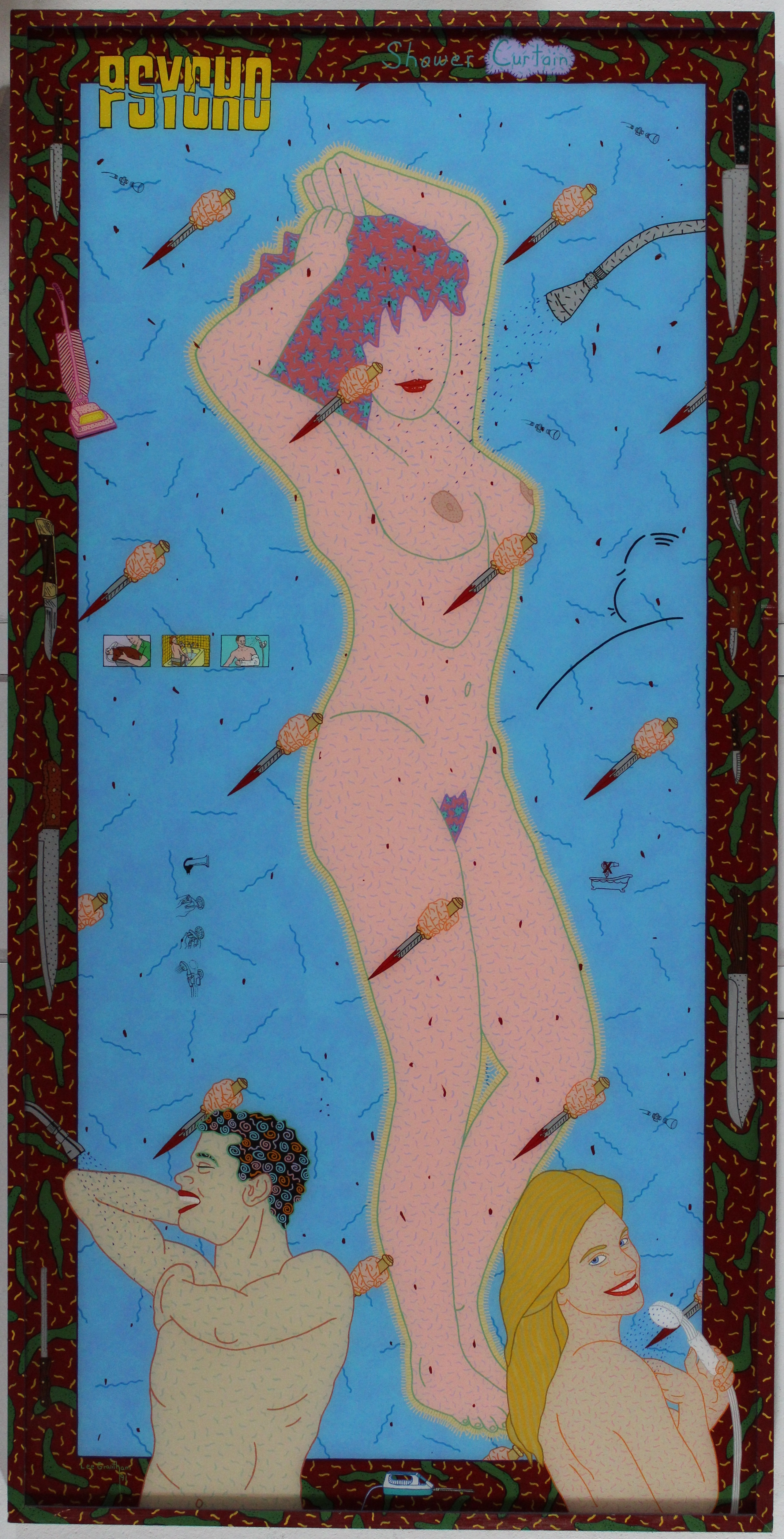 Psycho Shower Curtain 1991 acryic on plexiglas 73 x 37