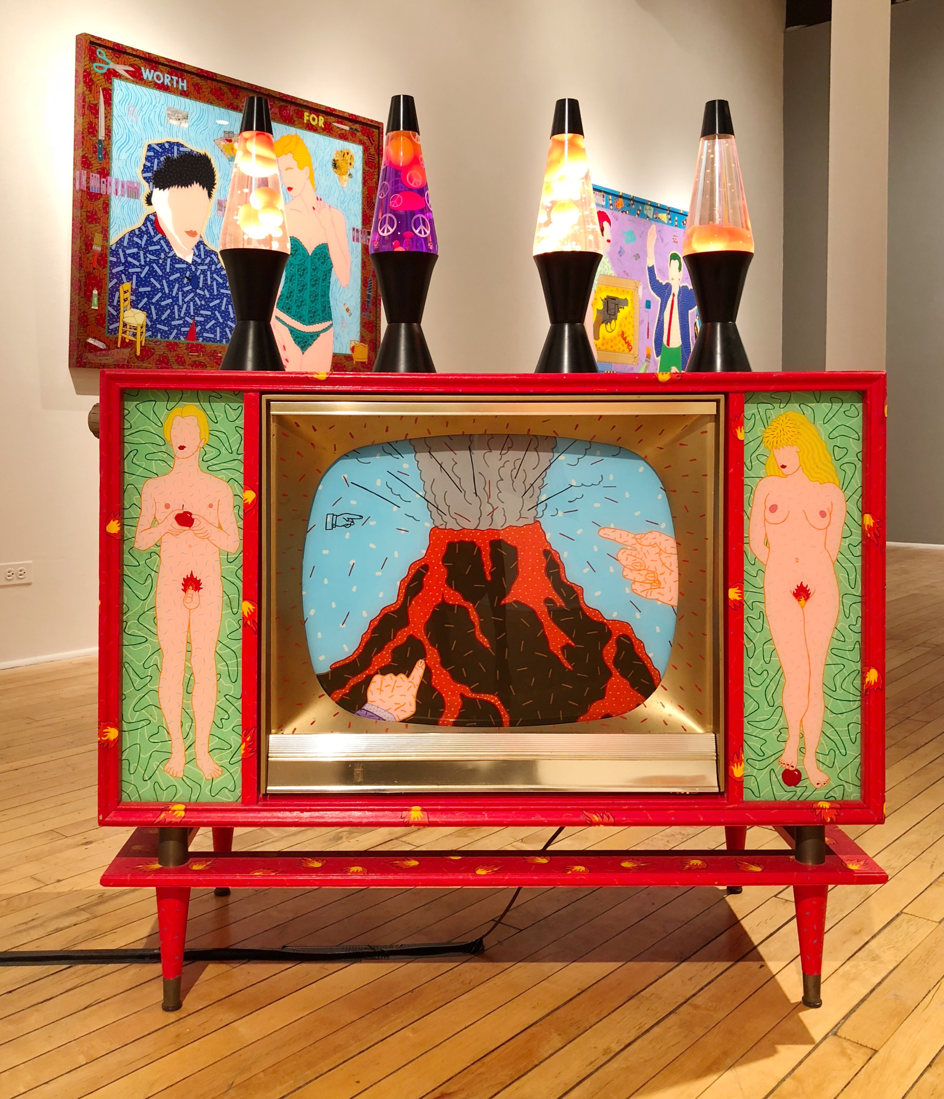 Hot Lava, 1993, 50s TV with 4 lava lamps, 18 x 39.25 x 51.5 in. (2)